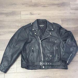 UNIK Mens Premium Traditional Leather Biker Jacket